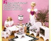Vintage Fashion Doll Furniture Plastic Canvas Wicker Set Chair Ottoman Cushion Rug Lamp House of White Birches