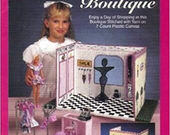 Plastic Canvas Carry & Play Fashion Doll Boutique 933730 Checkerboard Floor Mirror Dress Rack Cash Register Mannequin Vintage 1993
