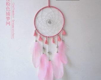 Handmade Dream Catcher Net Hanging Home Decoration pink Sakura cherry blossom
