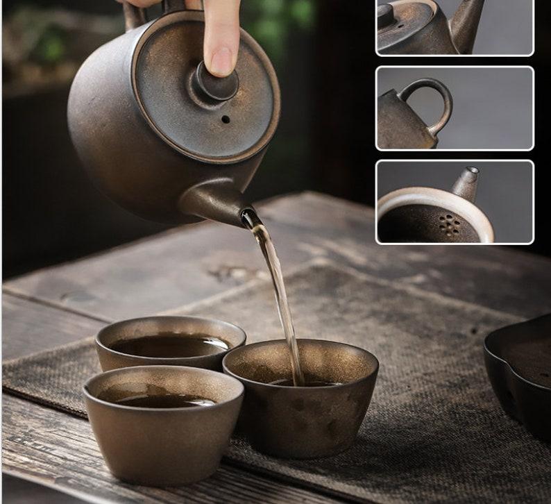 gold rustic retro ceramic pottery tea pot 6