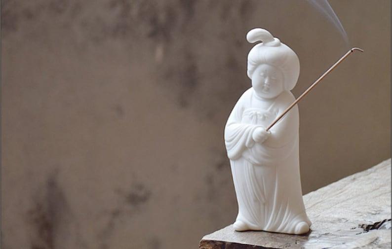 Tang lady and dog chinese white glazed porcelain tea pet incense burner