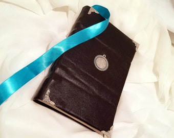 Faux black leather handbound blank book journal