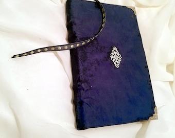 Faux suede blue book handbound journal