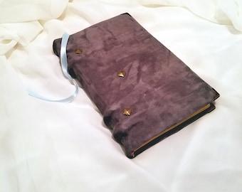 Soft grey suede leather book handbound journal