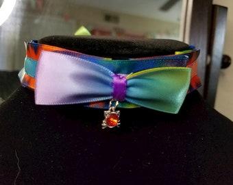 Cute rainbow ribbon choker collar kitten play with pendant