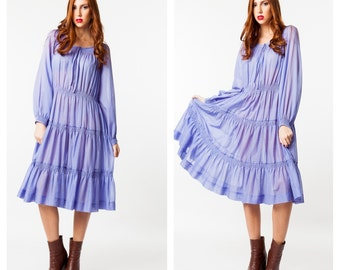 Vintage Purple Peasant Dress