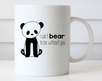Funny Coffee Mug Panda Pun I Miss You Quote Mugs Can't Bear It Without Love Goodbye Farewell Gift For Her Him Leaving Moving Going Away