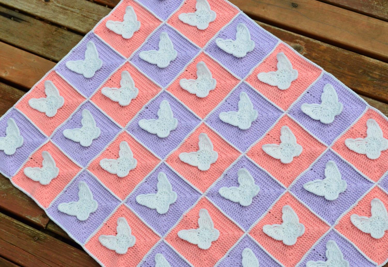 Crochet Pattern Pink And Purple Butterfly Blanket Etsy Trippy Hippy Afghan Kingdom 50