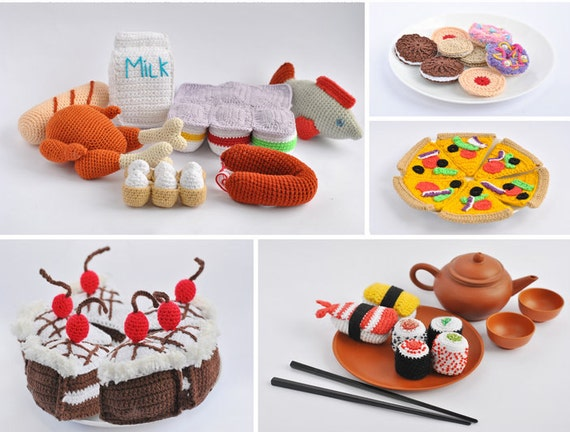 Over 40 Amigurumi Crochet Play Food Patterns, Including Breakfasts, Lunches, Dinners, Desserts and Grocery Items
