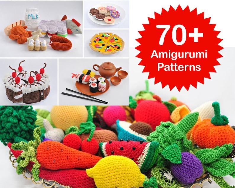 Amigurumi Pattern. 70 Crochet Play Food Patterns. Crochet Toy image 0