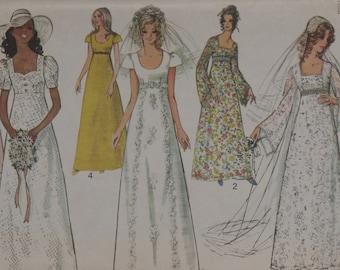 Simplicity 9936 Misses' Wedding Bridesmaid Dress Bridal Gowns Uncut Size 8 Vintage 1970's Empire Waist Angel Sleeves