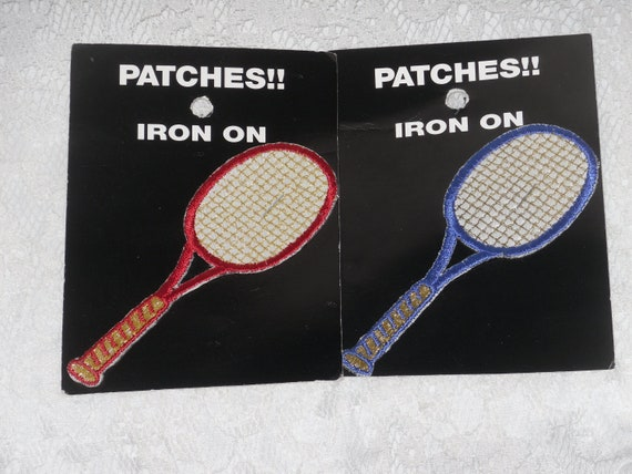 2 PCS ~TENNIS RACKETS~IRON ON EMBROIDERED APPLIQUE