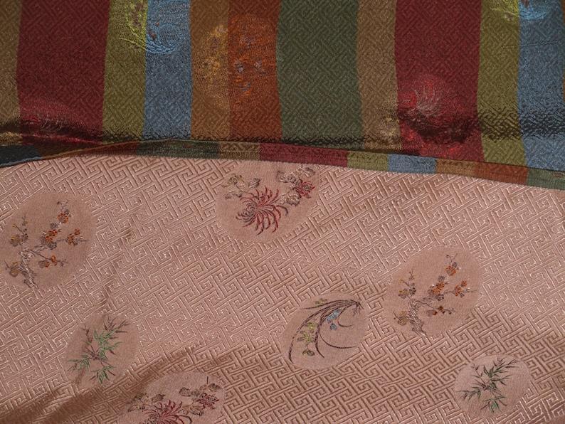 Damask Fabric 3 Yds Asian Stripe Floral Print