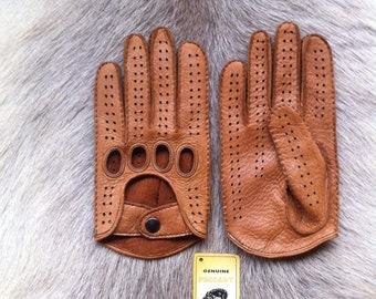 Men's Peccary Leather Gloves Driving Gloves Vintage Old Timer