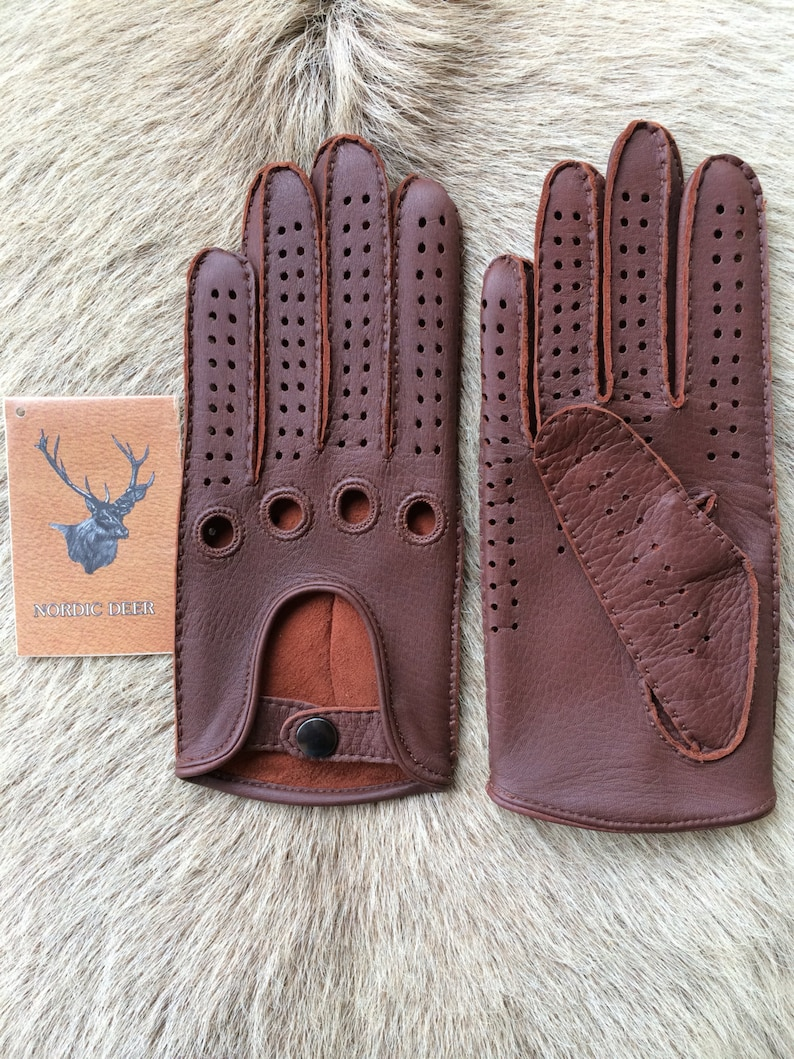 Driving Leather Gloves black color deerskin leather Top Fashion