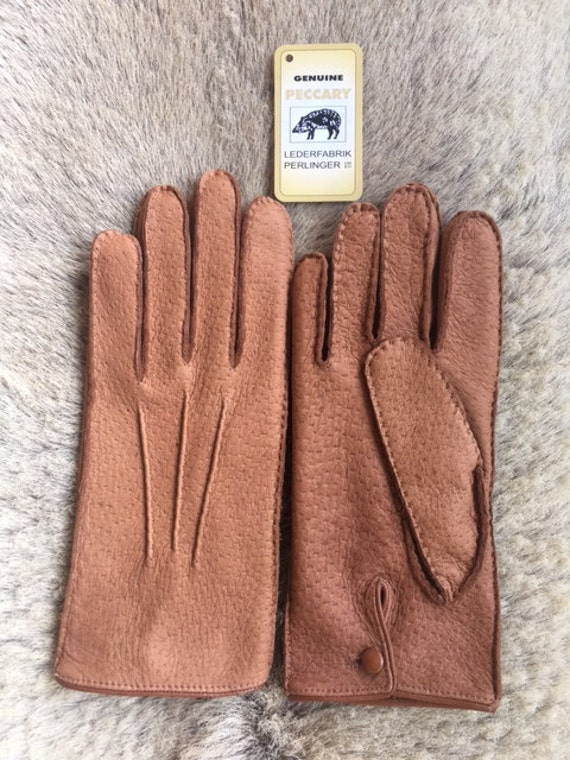 Gloves Leather Cashmere Peccary Handmade Lining Sewn Hand m8Nwn0