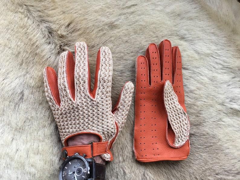 Blue Men/'s Deerskin Leather Gloves Crochet Top Leather Palm