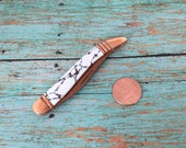 Retro Copperstone Pocket Knife Vintage Style Small Whittling Pocket Knife Pendant Findings Unique White Handle Bronze Blade Pocketknife 044