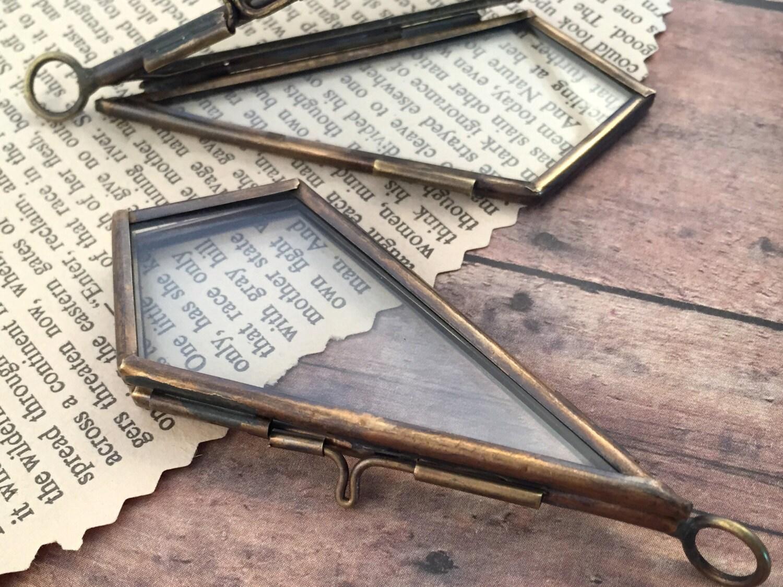Bronze doppelseitig Doppelglas-Kite-Rahmen-Diamant-Anhänger | Etsy