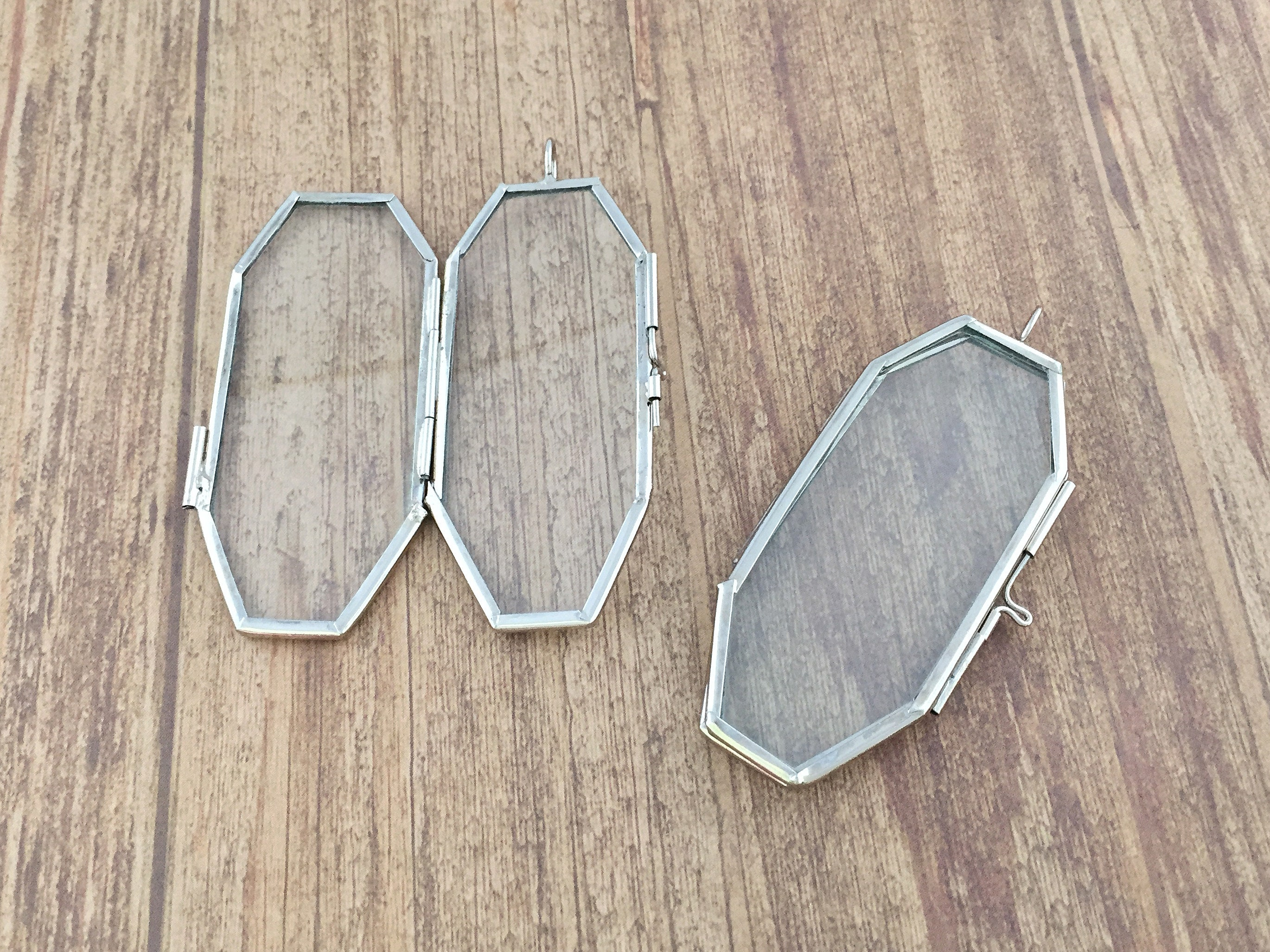 Doppelte doppelseitig Silberglas Octagon Sarg Rahmen Anhänger | Etsy