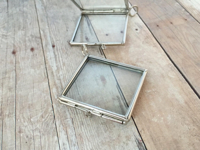 Doppel-doppelseitig Silber Quadrat Glas Rahmen Medaillon