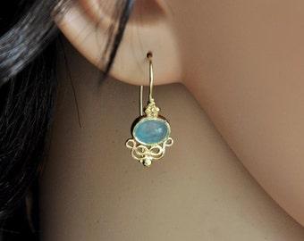 Aquamarine Earring, Aquamarine Dangle Earring, 14k Gold Dangle Earring , 14k Gold Earrings , March Birthstone Earring, 14k Gold and Gemstone