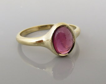 Tourmaline Ring , Pink Tourmaline Ring , Solid Gold and Gemstone Ring , 14 k Gold Ring , Fine Jewelry , Engagement Ring