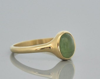 14k Gold Tourmaline Ring,Cabochon Green Tourmaline Ring,Gold Jewelry Gift for Her,Stone Ring, 14k Solid Gold Ring,Birthday Gift for daughter