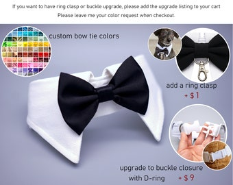 More Colors Available- Dog bow tie collar, dog tuxedo collar, dog bowtie, dog formal collar, pet bow tie, pet / dog wedding bow tie