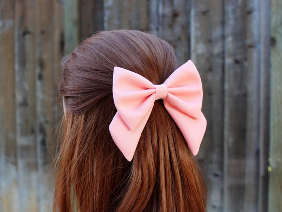 "Wedding Flower Girls Large 4.5"" White Hair Bow Clip Long Tails White Satin Bow"