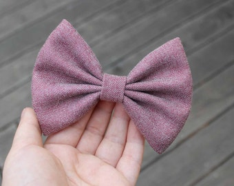 """4.5"""" Dusted magenta and white fabric hair bow, unique hair bow, big hair bow, hair bows for teens, women hair bow, winter hair bow"""