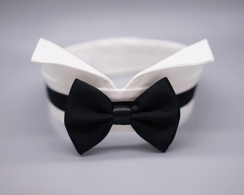99fc8b7a56e8 Black satin dog bow tie collar dog tuxedo collar wing tip | Etsy