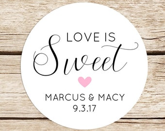 Love is Sweet Stickers, Wedding Stickers for Favors, Round Sticker Labels, 2 Inch Candy Bar Stickers
