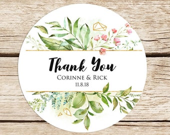 Wedding Sticker, Personalized, Thank You Stickers, Wedding Favor Stickers, Floral Labels, Greenery, 2'' Stickers