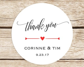 wedding thank you stickers custom favor stickers black etsy