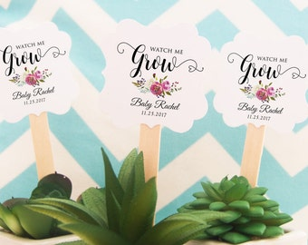 Watch Me Grow Tags, 12 Baby Shower Tags, Plant Favor Tags, Personalized Tags, Floral Toppers, Watch Me Grow Favor Tags