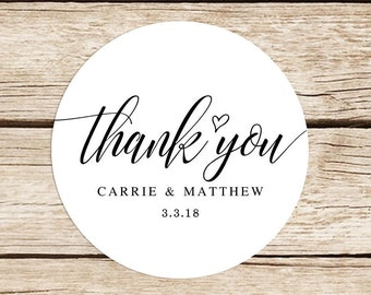 Wedding Thank You Stickers, Custom Favor Stickers, 2 inch Round Stickers, Engagement Stickers