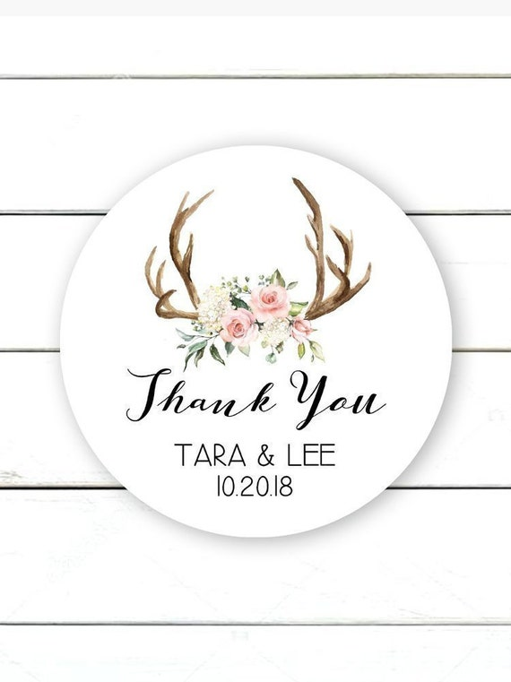 Boho Wedding Stickers Rustic Wedding Stickers Thank You Stickers for Favours