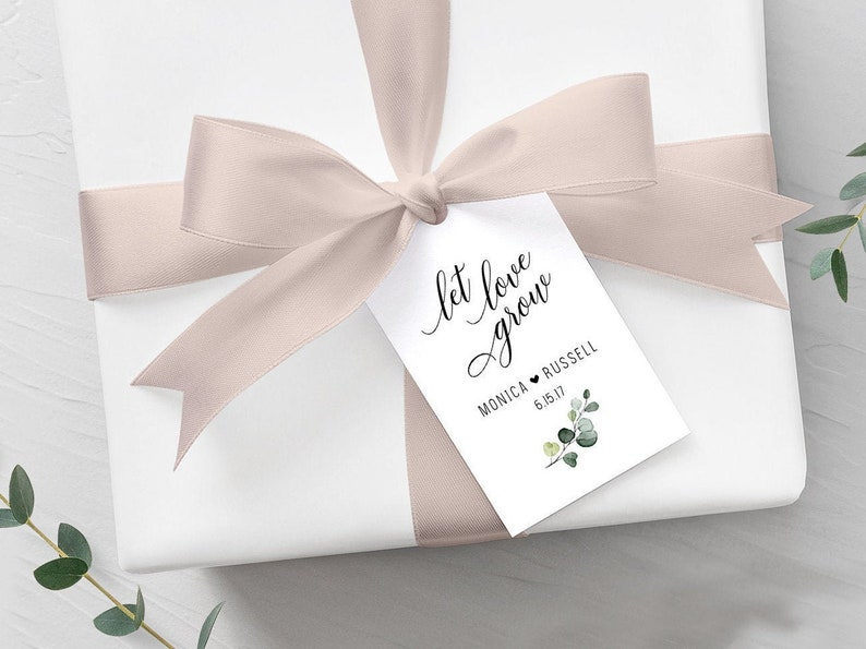 50 Let Love Grow Tags Wedding Gift Tags Personalized Favor Tags