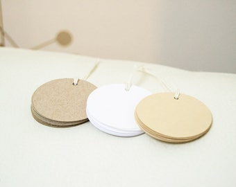 Plain Gift Tags for Favors, Set of Kraft Paper Tags, Blank Tags, Price Tags for Products, Brown Tags, 2 inch Round Tags