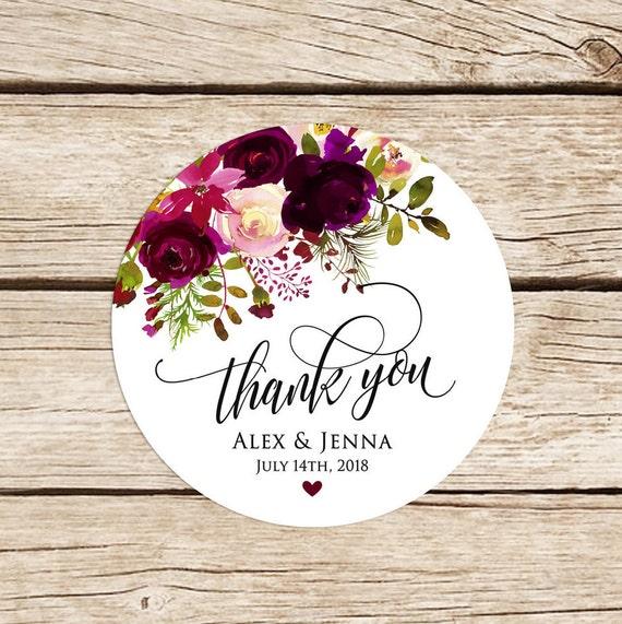Hochzeit Aufkleber personalisiert zugunsten danke Aufkleber | Etsy
