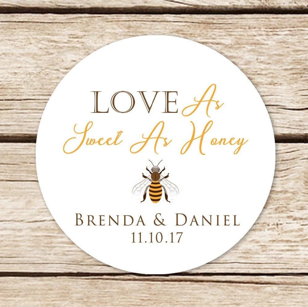 Honey favor stickers wedding sticker labels love is sweet stickers personalised honey jar stickers
