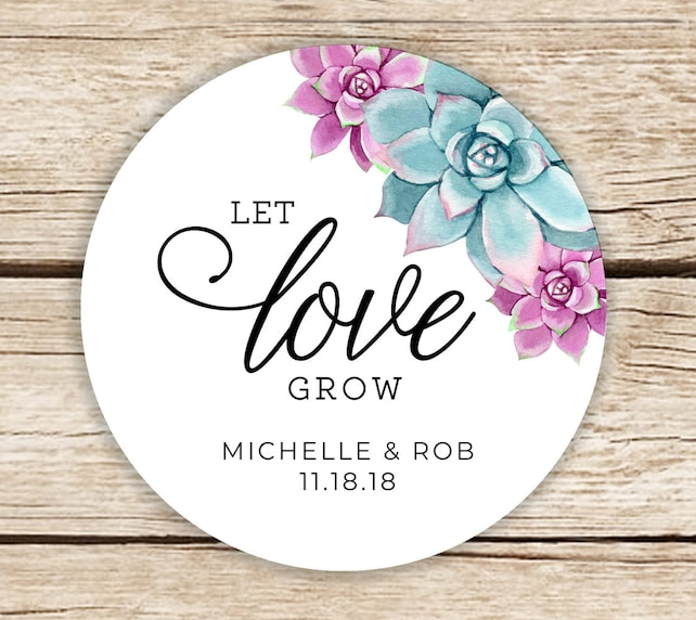 Greenery Favor Stickers Personalized Wedding Stickers Thank You