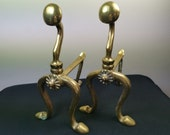Antique Andiron Fire Dogs Fireplace Accessories Solid Brass Metal Victorian Original Firedogs Pair Set
