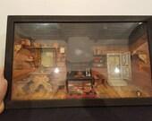 Antique Diorama Doll House Shadow Music Box Wall Art Hand Made Early 1900 39 s Miniature Original Folk Sculpture
