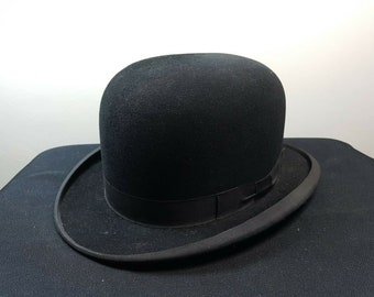 666676598566e Vintage Men s Black Bowler Derby Hat with Leather Trim Inside Medium Size  Late 1800 s - Early 1900 s