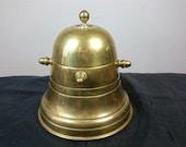 Antique Brass Nautical Ships Wheel Tea Caddy Storage Tin Box Early 1900 39 s Brass Metal