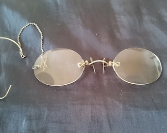6763da329168c Antique Eye Glasses Rimless with Gold Chain and Ear Piece in Original Case  Late 1800 s