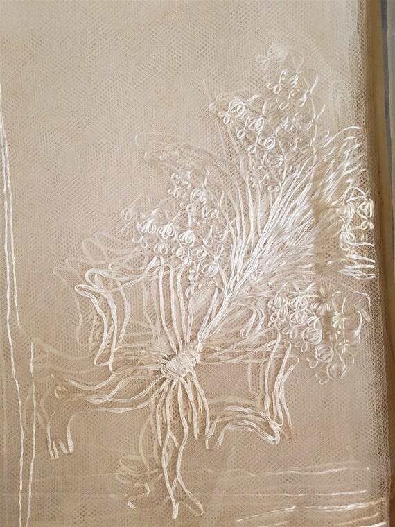 Vintage White Lace Bridal Wedding Veil 1950's Mid… - image 3