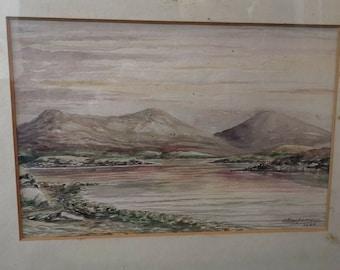 Vintage Watercolor Painting of Scottish Landscape Scotland Loch Highlands Original Art Signed MacPherson in Frame Framed Watercolour 1935